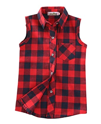 0ce1f6319e862 Toddler Little Baby Girls Red Black Plaid Button Down Shirt Tops Blouse Sleeveless  Clothes (1