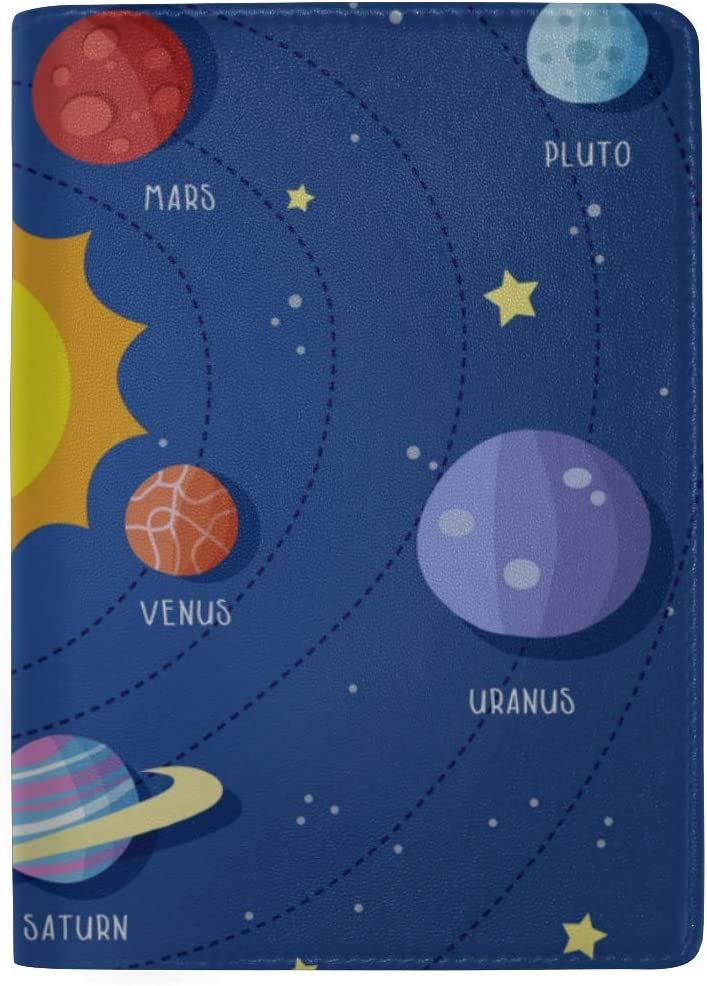 Set Of Planets With Faces On Stars Blocking Print Passport Holder Cover Case Travel Luggage Passport Wallet Card Holder Made With Leather For Men Women Kids Family