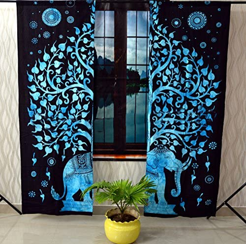 Sophia-Art Hippie Elephant Home Decor Window Indian Drapes 2 Panel Set Balcony Sheer Valance Bedroom Handmade Wall Hanging Room Divider Cotton Bohemian Mandala Curtain Turquoise Black Elephant