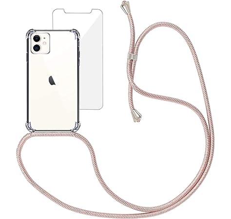 Oro Rosa 2 Carcasa Suave Silicona Case con Correa Colgante Ajustable Collar Correa de Cuello Cadena Cord/ón Funda Silicona con Cuerda para iPhone 11