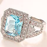 Fashion Women Jewelry 925 Silver Aquamarine Wedding Engagement Ring Size 6-10 (9)