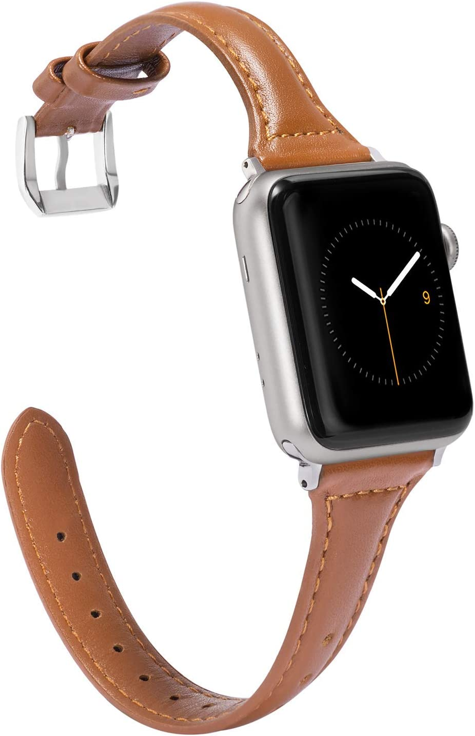 Wearlizer Brown Slim Leather Compatible with Apple Watch Band 38mm 40mm for iWatch Womens Mens Top Grain Leather Thin Strap Simple Cute Stylish Wristband (Silver Clasp) Series 5 4 3 2 1 Edition Sport
