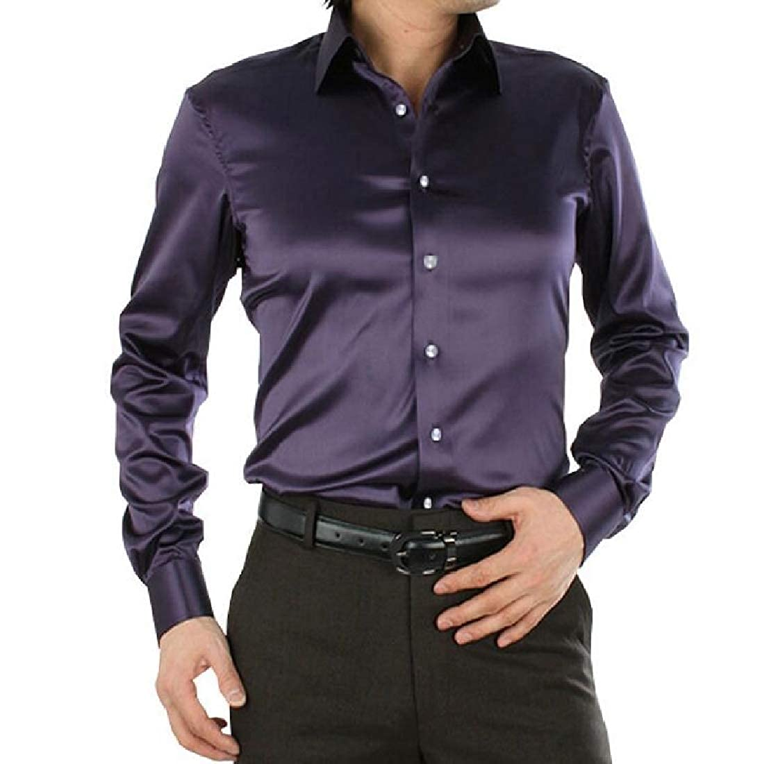 UUYUK Men Long Sleeve Solid Color Stretchy Satin Slim Button Down Shirts