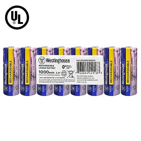 Amazon.com: Batería Westinghouse IFR 18500 3,2 V 1000 mAh ...
