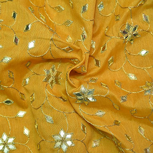 Shopolics Yellow Banglori Silk Base Fabric With Silver Floral Embroidery-60015 For Wedding, Party Wear, Fabric (1 Yard)