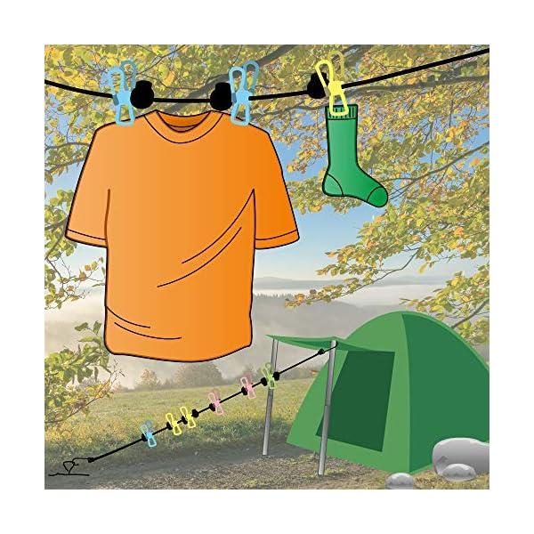61LKdEijpmL com-four® 2X Wäscheleine - Reisewäscheleine mit 16 Klammern - Wäscheleine mit Haken - Camping Wäscheleine - Mobile…