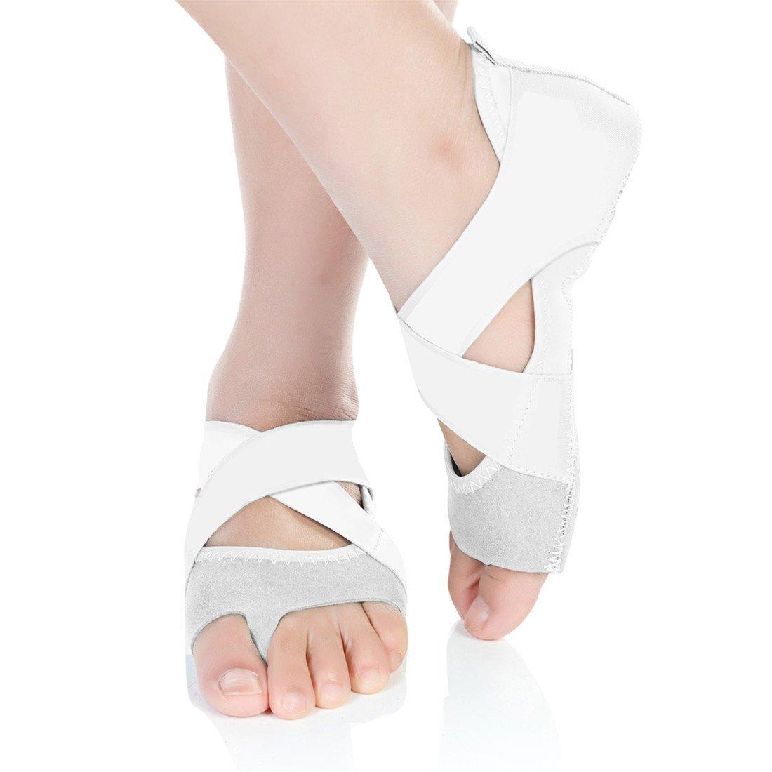 Barerun Ballet Shoes Grip Bare Toe Low Rise Non-Slip for Ballet Yoga Pilates Barre Toe Socks White 8.5-9.5 B(M) Women