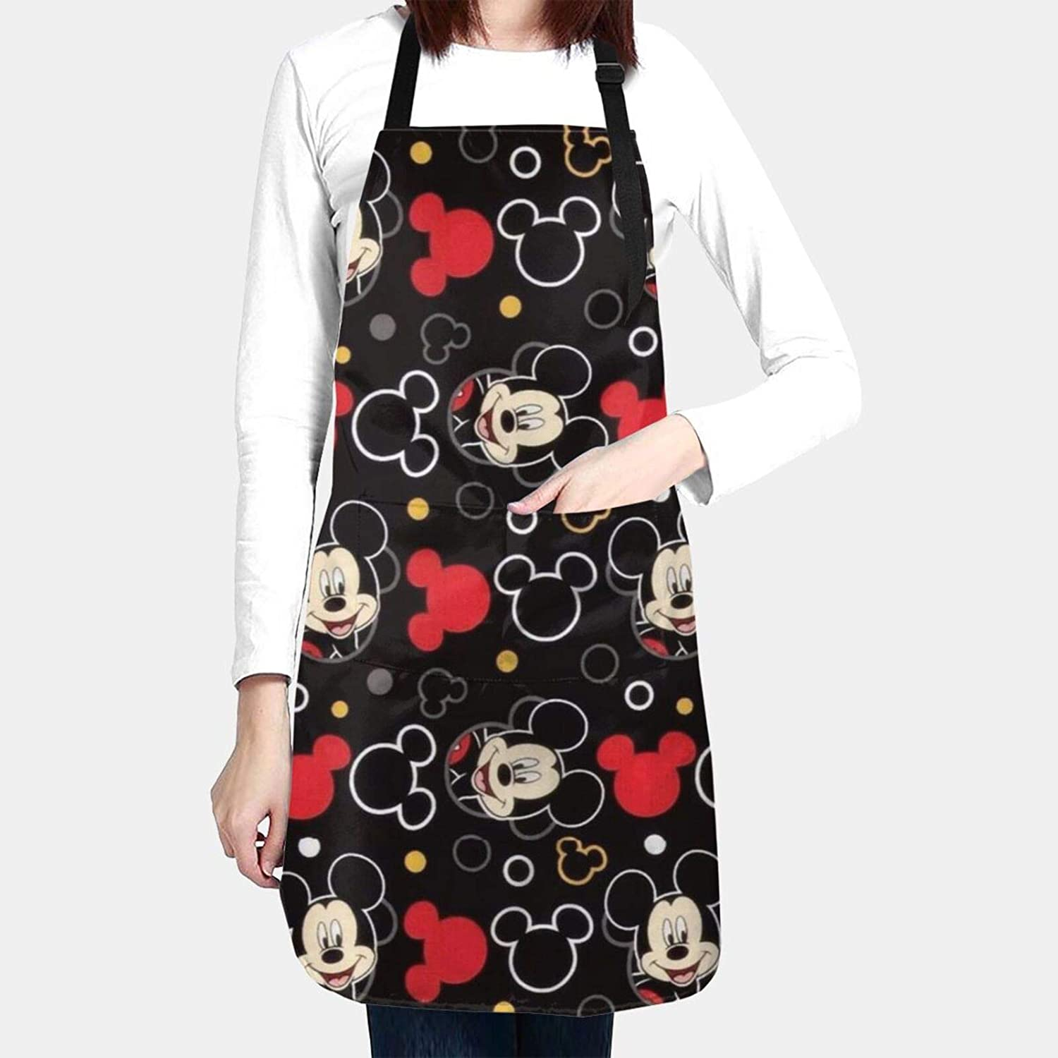 WOMFUI Anime Mic-Key Mouse Kitchen Chef Apron Unisex Black Apron Adjustable Extra Long Ties 2 Pockets for Home Cooking