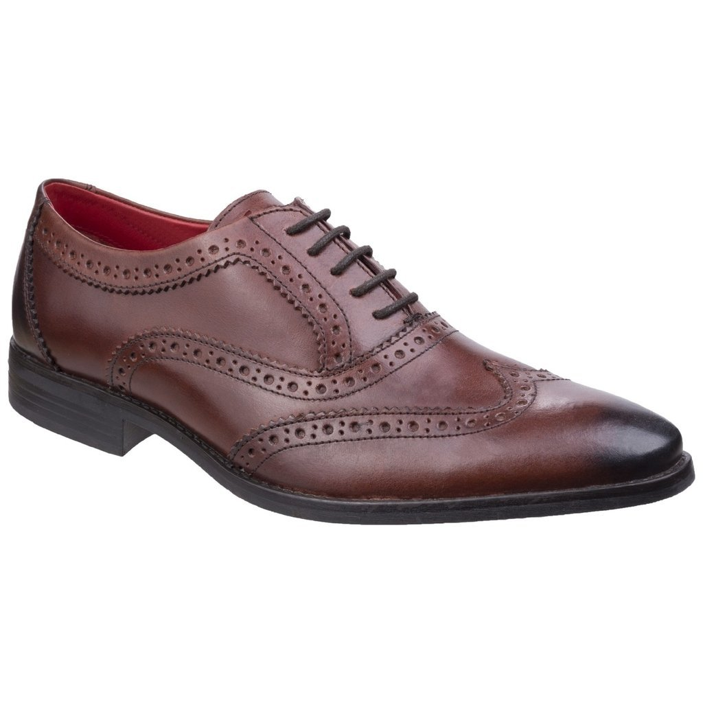 Base London Mens Bramble Smart Burnished Leather Brogue Pattern Shoes 40.5 EU|Rosewood