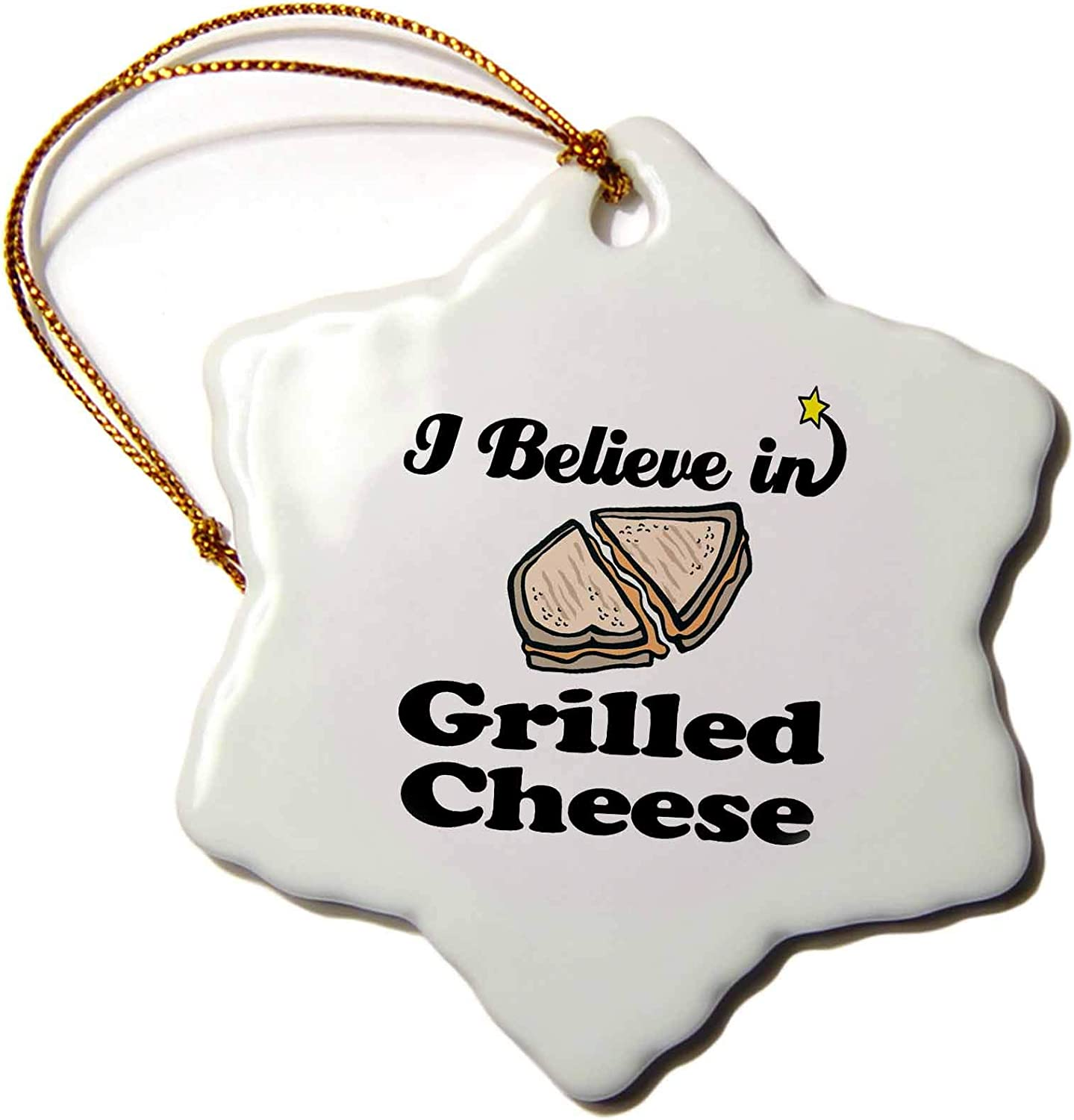 3dRose I Believe in Grilled Cheese Snowflake Ornament, 3