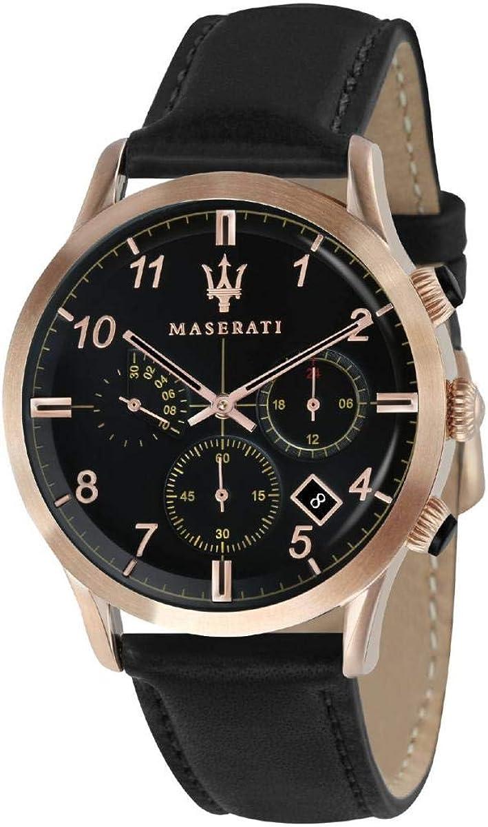 Reloj para Hombre, Colección Ricordo, Movimiento de Cuarzo, cronógrafo, en Acero, PVD Oro Rosa y Cuero - R8871625004