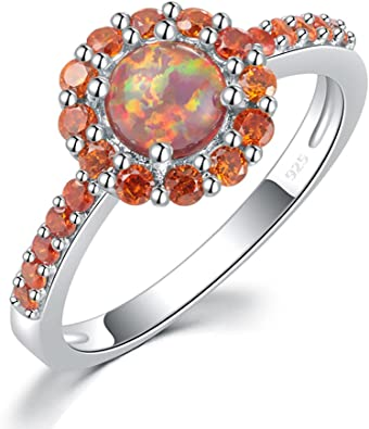 Opal Stone Girl Women Gift Ring Size 5 6 7 8 9 10 11 12 13 925 Sterling Silver Multi Color Brown Fire Opal Ring