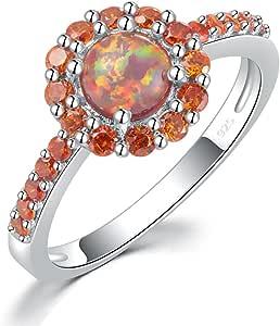 CiNily Orange Fire Opal Garnet Rhodium Plated Women Jewelry Gemstone Ring Size 5-12
