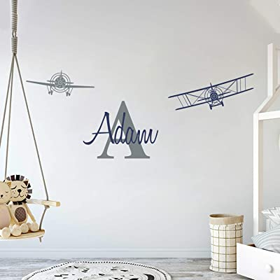 "Custom Name & Initial with Cute Airplanes - Aeronautical Series - Baby Boy - Wall Decal Nursery for Home Bedroom Children (AM) (Wide 45"" x 17"" Height): Baby"