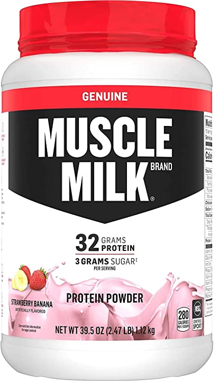 Amazon.com: Muscle Milk Genuine Protein Powder, Strawberry Banana, 32g  Protein, 2.47 Pound, 16 Servings: Health & Personal Care