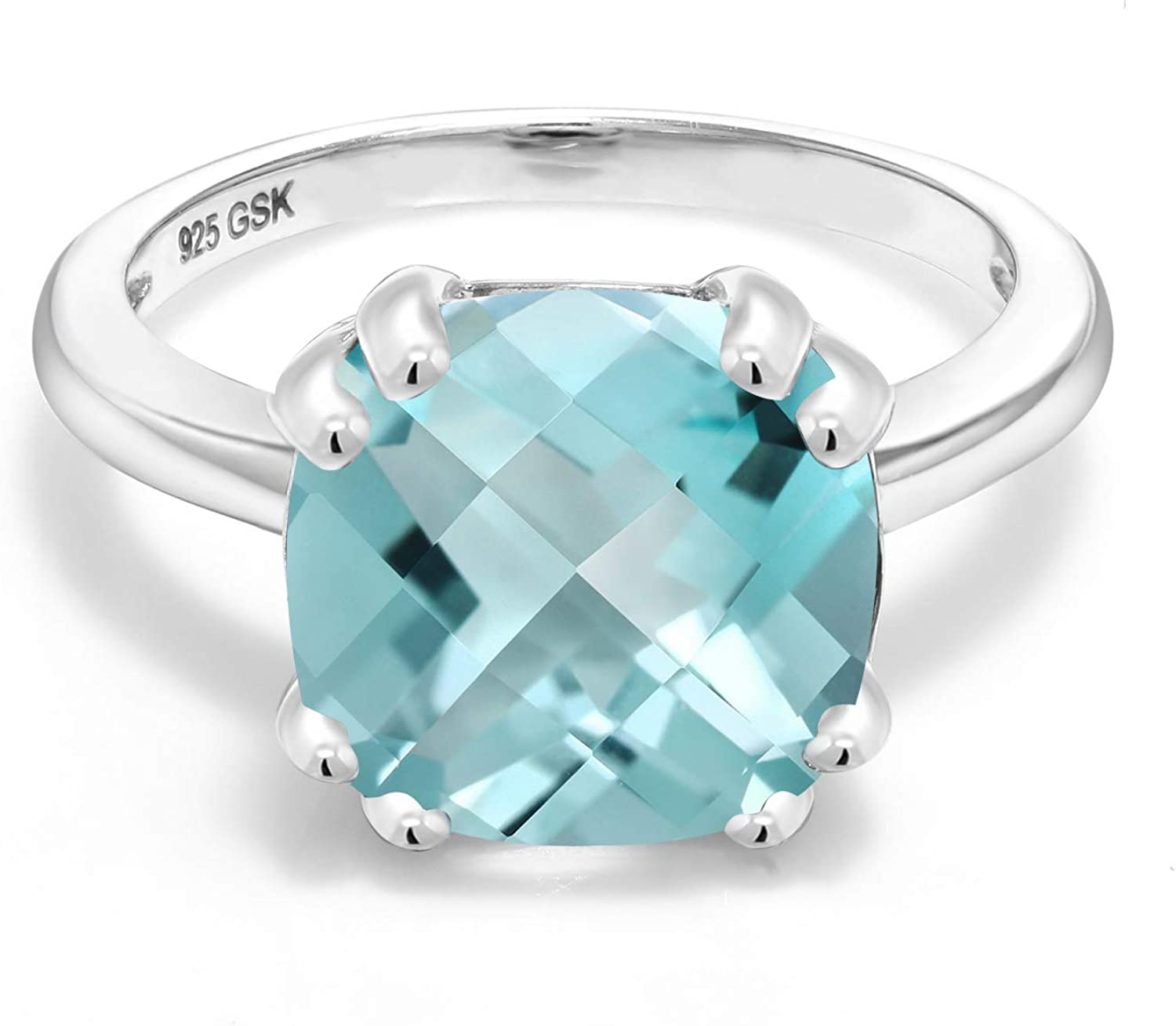 Details about  /Blue Topaz Sterling Silver Ring Natural Gemstone Size 4 5 6 7 8 9 10 11