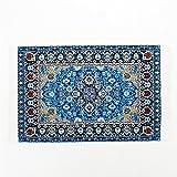Odoria 1:12 Blue Floral Print Vintage Woven Carpet Rug Blanket Miniature Dollhouse