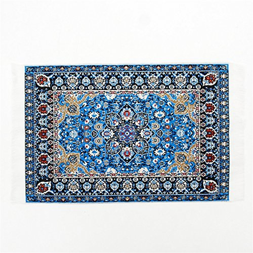 odoria-112-blue-floral-print-vintage-woven-carpet-rug-blanket-miniature-dollhouse