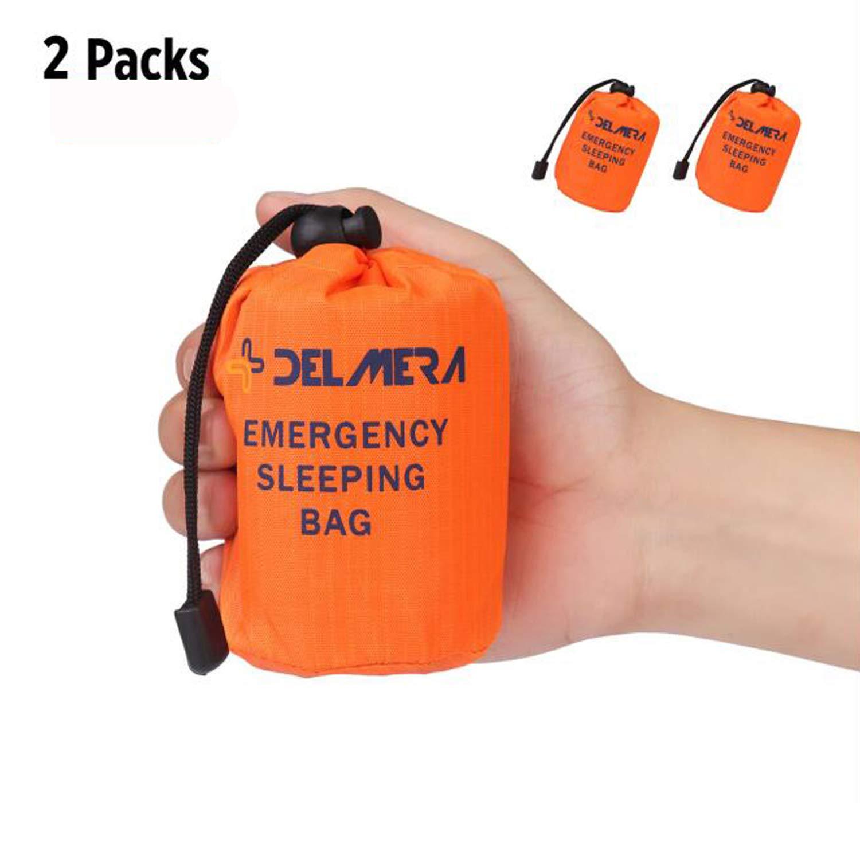 Delmera Emergency Survival Sleeping Bag, Lightweight Waterproof Thermal Emergency Blanket, Bivy Sack with Portable Drawstring Bag for Outdoor Adventure, Camping, Hiking, Orange (Orange-2 Packs)