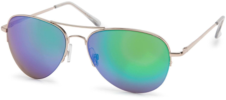 styleBREAKER Sonnenbrille verspiegelt, Aviator Pilotenbrille getönt mit Federscharnier, Unisex 09020037, Farbe:Gestell Halbrand Gold / Glas Grün, V14