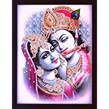 Lord Krishna playing flute & wearing turbon with peacock feather with radha, A Elegant, Decorative, Religious picture poster with frame, must for office / Home and Religious purpose