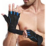Xfinity Fitness Mens Gym Gloves with 12 inch Wrist Support and Anti Slip Grip Medium Size