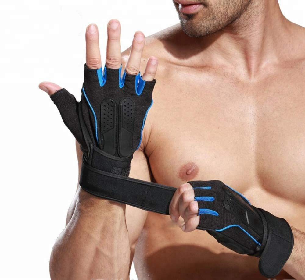 Xfinity Fitness Mens Gym Gloves with 12 inch Wrist Support and Anti Slip Grip Medium Size (Blue Black) (B07R71BDGN) Amazon Price History, Amazon Price Tracker
