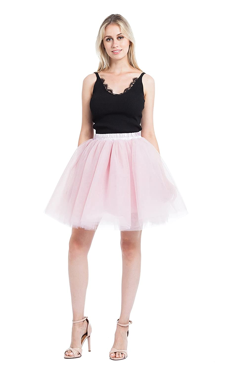 e48c5b0a89 MATERIAL: 6 layers tulle + 1 layer satin lining = 7 layers ;bridal quality  nylon tulle, soft and durable, LENGTH:19.68 inch ;Elastic waistband can  stretches ...