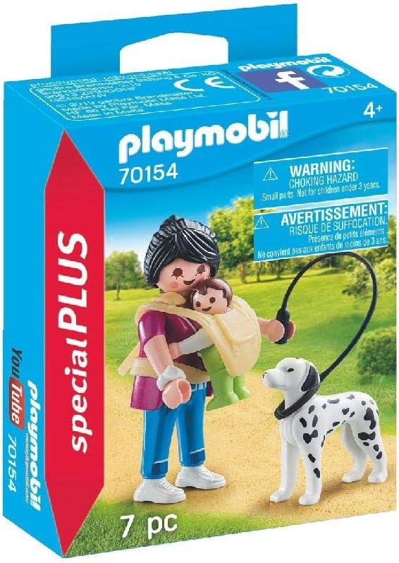 PLAYMOBIL 70154Special Plus Mamá con bebé y Perro, Multicolor, Color carbón