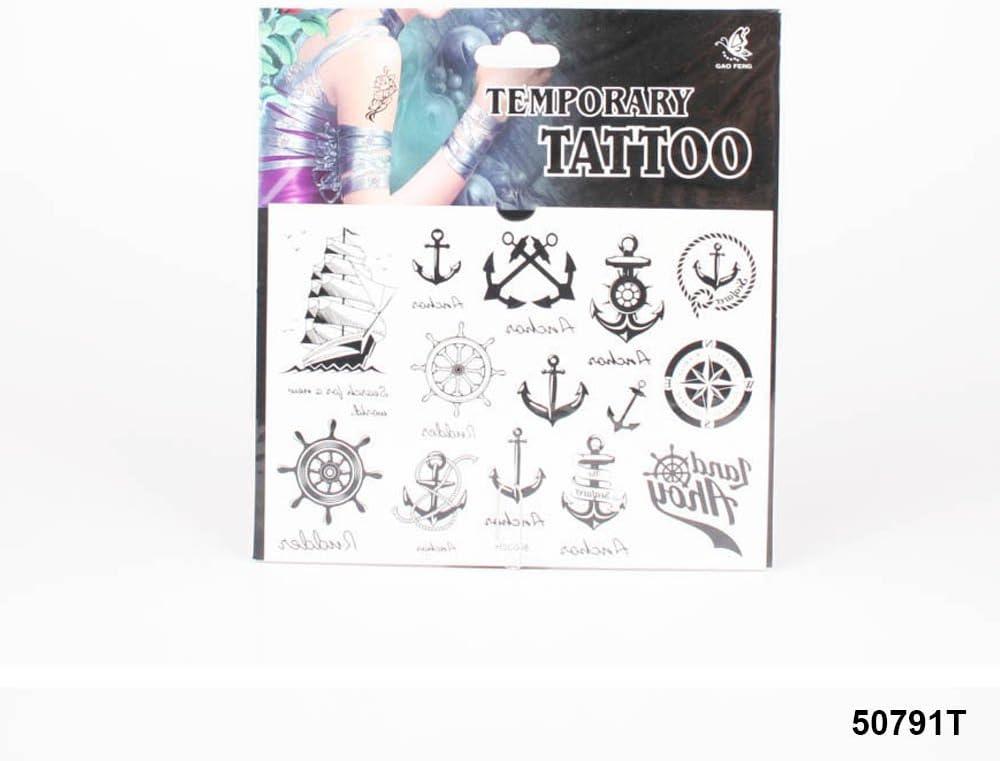 Tatuajes con barco, diferentes ankern, brújula y Timón: Amazon.es ...