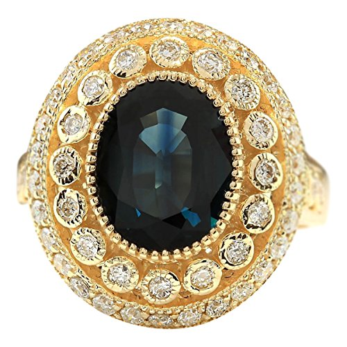 (4.03 Carat Natural Blue Sapphire and Diamond (F-G Color, VS1-VS2 Clarity) 14K Yellow Gold Cocktail Ring for Women Exclusively Handcrafted in USA)
