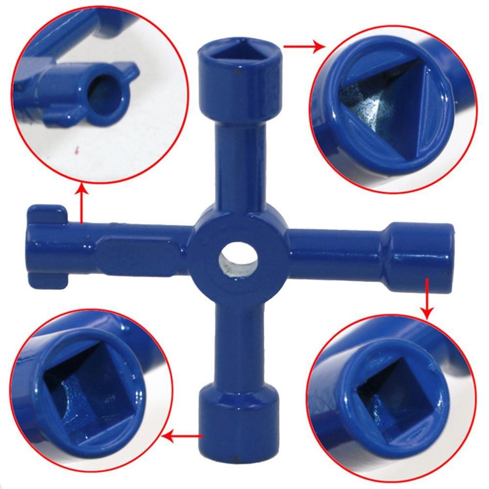 Earlyad Llave de Utilidad Llave de Cuatro usos Multifuncional port/átil Taller de Hardware a Granel Surtido de radiador y Llaves de Utilidad del medidor