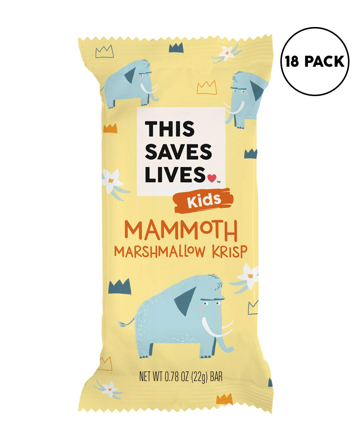 This Saves Lives Kids Rice Krispy Treats, Mammoth Marshmallow Krisp 18 Pack, Gluten Free Snack Bars, Healthy Snacks for Kids, Individually Wrapped, Nut Free, Non GMO, Kosher, 0.78oz Bars