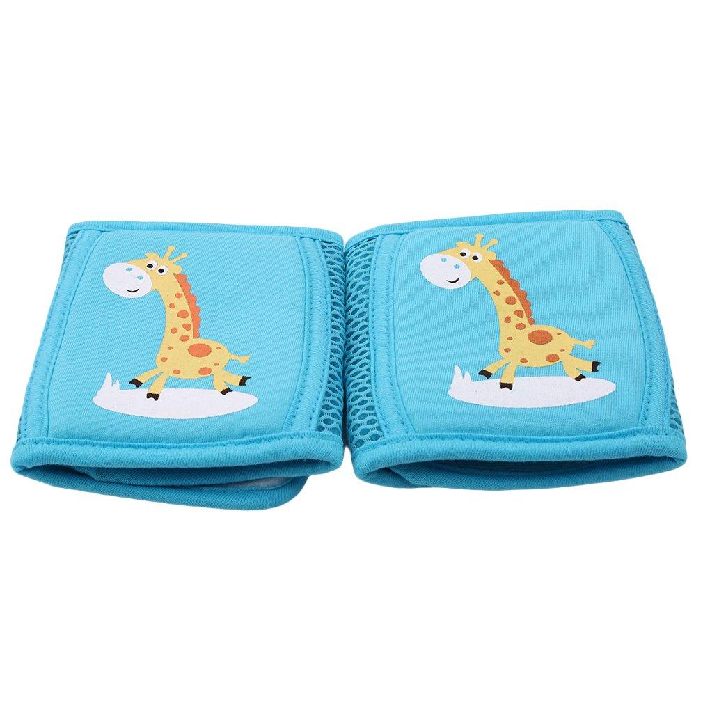 SEVENHOPE Kinder Atmungsaktive Mesh Knieschützer Baby Crawl Elbow Fallschutz Sicherheitsvorrichtung (Kaninchen Blau) DABO
