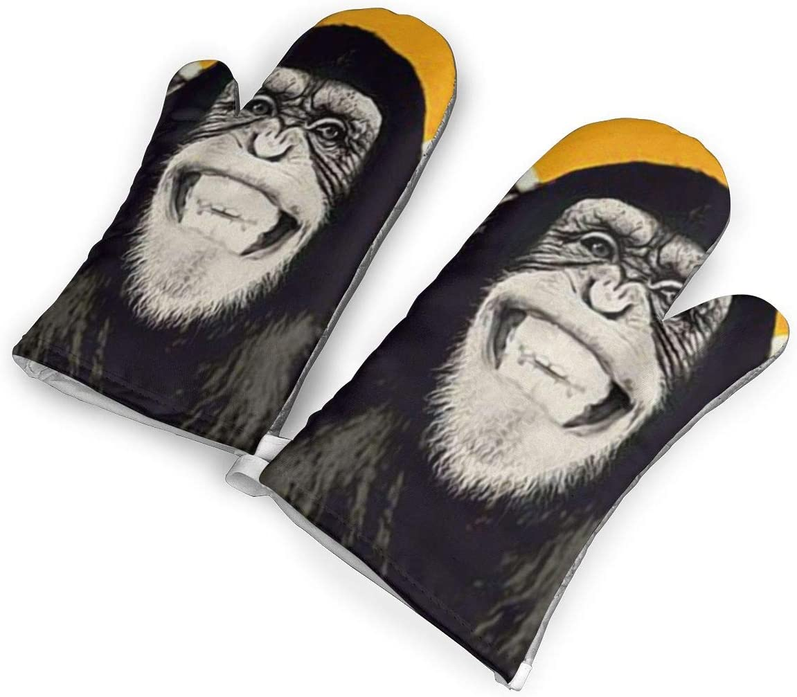 Victoria-Ai Funny Gorilla Laugh Oven Mitts Premium Heat Resistant Kitchen Gloves Non-Slip Easy to Use Baking Mittens for BBQ/Cooking/Grilling