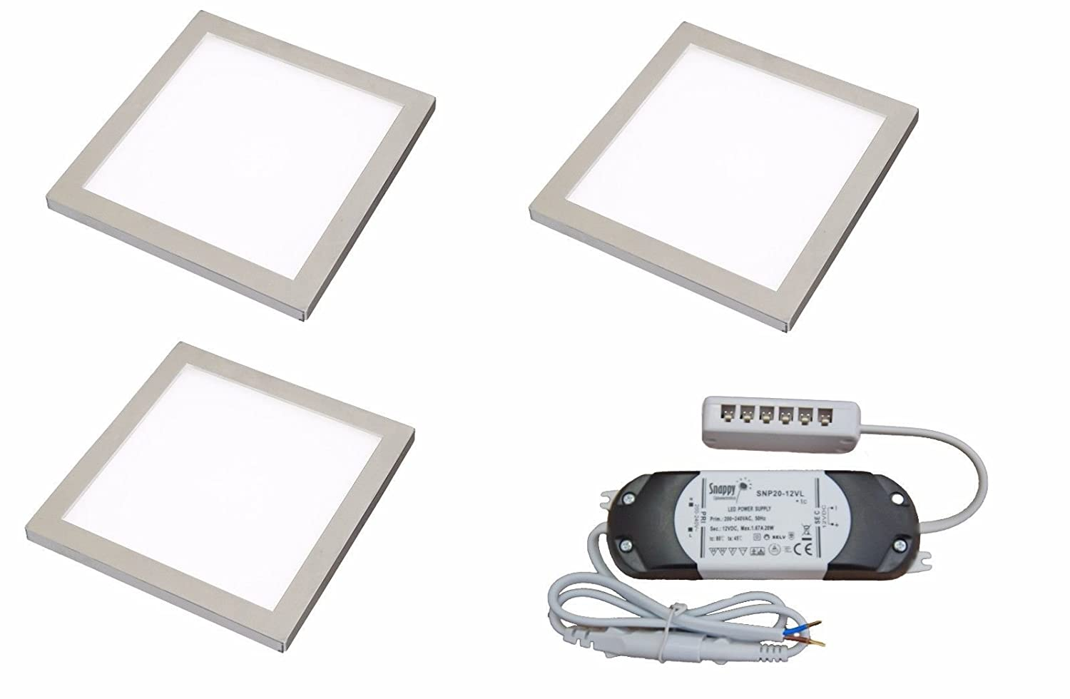 3 X SQUARE KITCHEN LIGHT SLIM FLAT PANEL UNDER CABINET CUPBOARD COOL WHITE LED Lighting Innovations