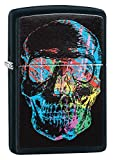 Zippo Colorful Skull Pocket Lighter, Black Matte