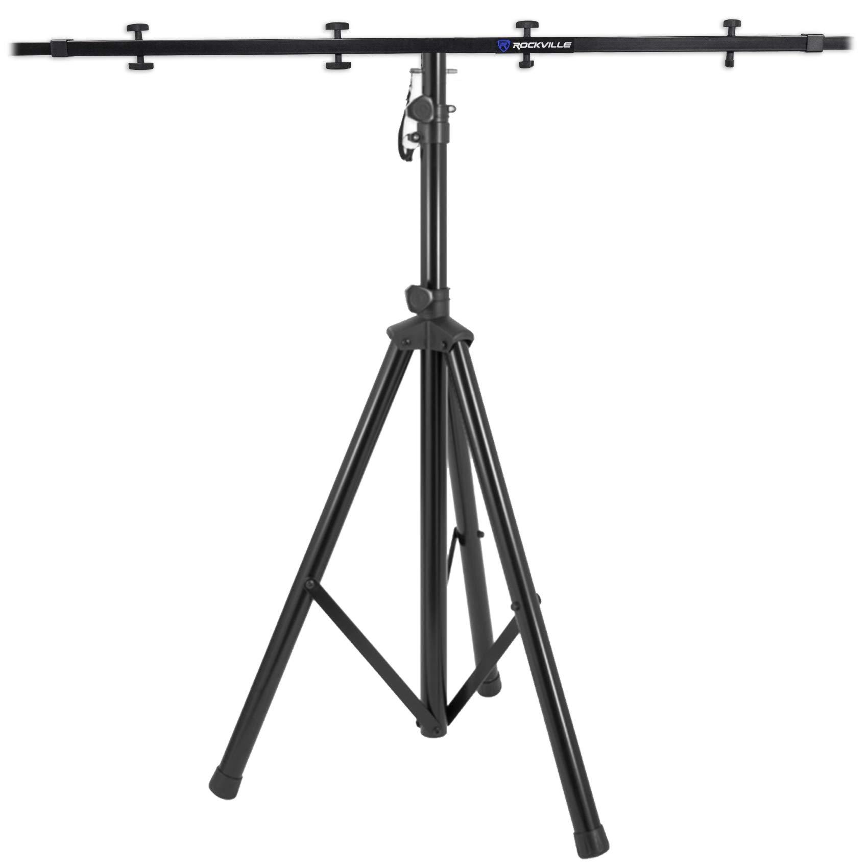 Rockville RVES05 Black Heavy Duty Tripod Pole-Mount Stand + Lighting Cross Bar