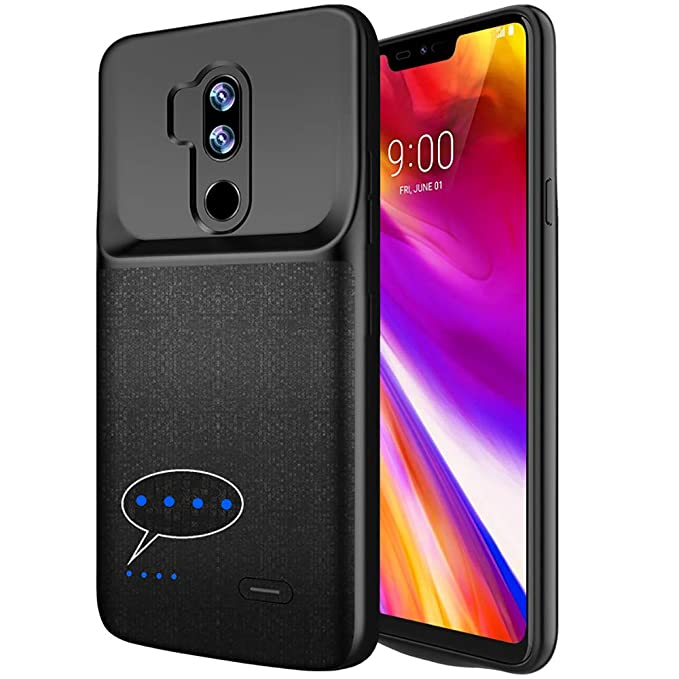 LG G7 ThinQ Battery Case 4700mAh, ANSEN Slim Rechargeable Extended Charger  Case with Raised Lips and Flexible TPU Edge for LG G7 Plus ThinQ– Black