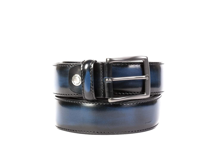 OAKS Cintura Uomo Colore Blu, Vera Pelle, Prodotto Artigianale 100% Made in Italy