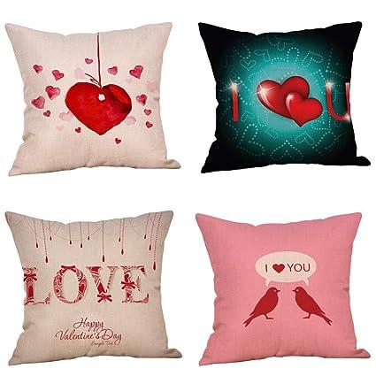 Amazon.com: ForShop 4PC Happy Valentine s Linen Sofa Cushion ...
