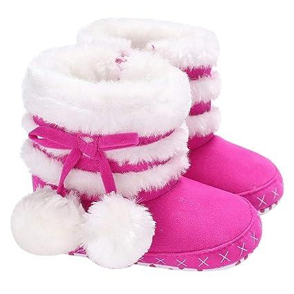 YanHoo Zapatos para niños Baby Girl Soft Booties Botas para la Nieve Infant Toddler Newborn Warming Shoes Botas de Nieve para niños Zapatos de bebé Bola de ...