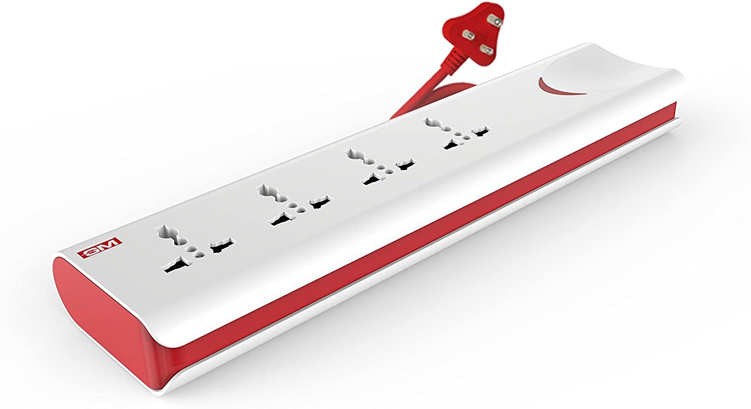GM 3060 E-Book 4 + 1 Power Strip with Master Switch, Indicator, Safety Shutter & 4 international sockets