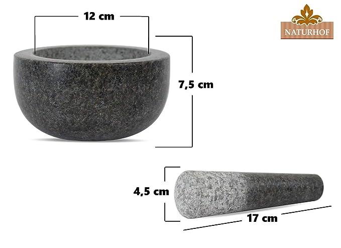 Naturhof M/örser aus Granit mit St/össel massiver K/üchenhelfer Steinm/örser zum Mahlen von Gew/ürze Kr/äuter BBQ Barbecue Rub Pesto