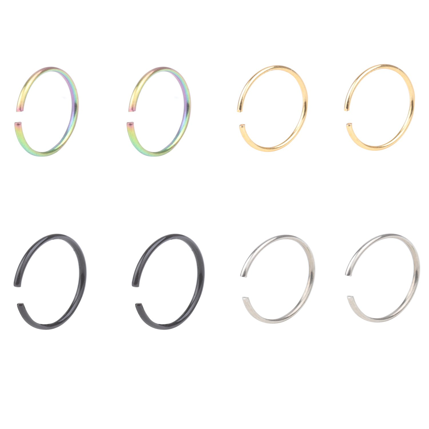 DRS 2-8pcs 22G Stainless Steel Non-Piercing Fake Clip on Closure Earrings Round Helix Cartilage Tragus Nose Lip Ear Hoop 8mm