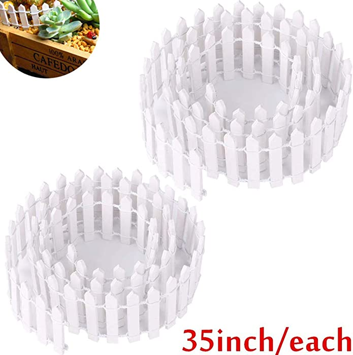 Ymeibe 35 Inch 2-Pack Miniature Picket Fence Fairy Garden Fence Wood Decorative Ornament Fence Dollhouse Plant Pot DIY Diorama Project Height 2 inch