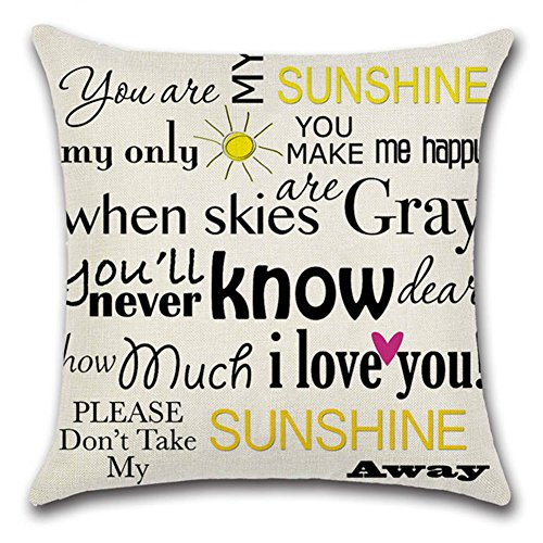 StMelody Cotton Linen Letter Home Throw Pillow Cover Sofa Cushions Cushion Covers Bedding (H02)