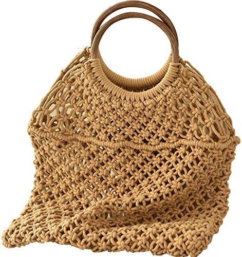 WKldxh Lady Bags Baosen Bolsa tejida de algodón Bolsa de red ...