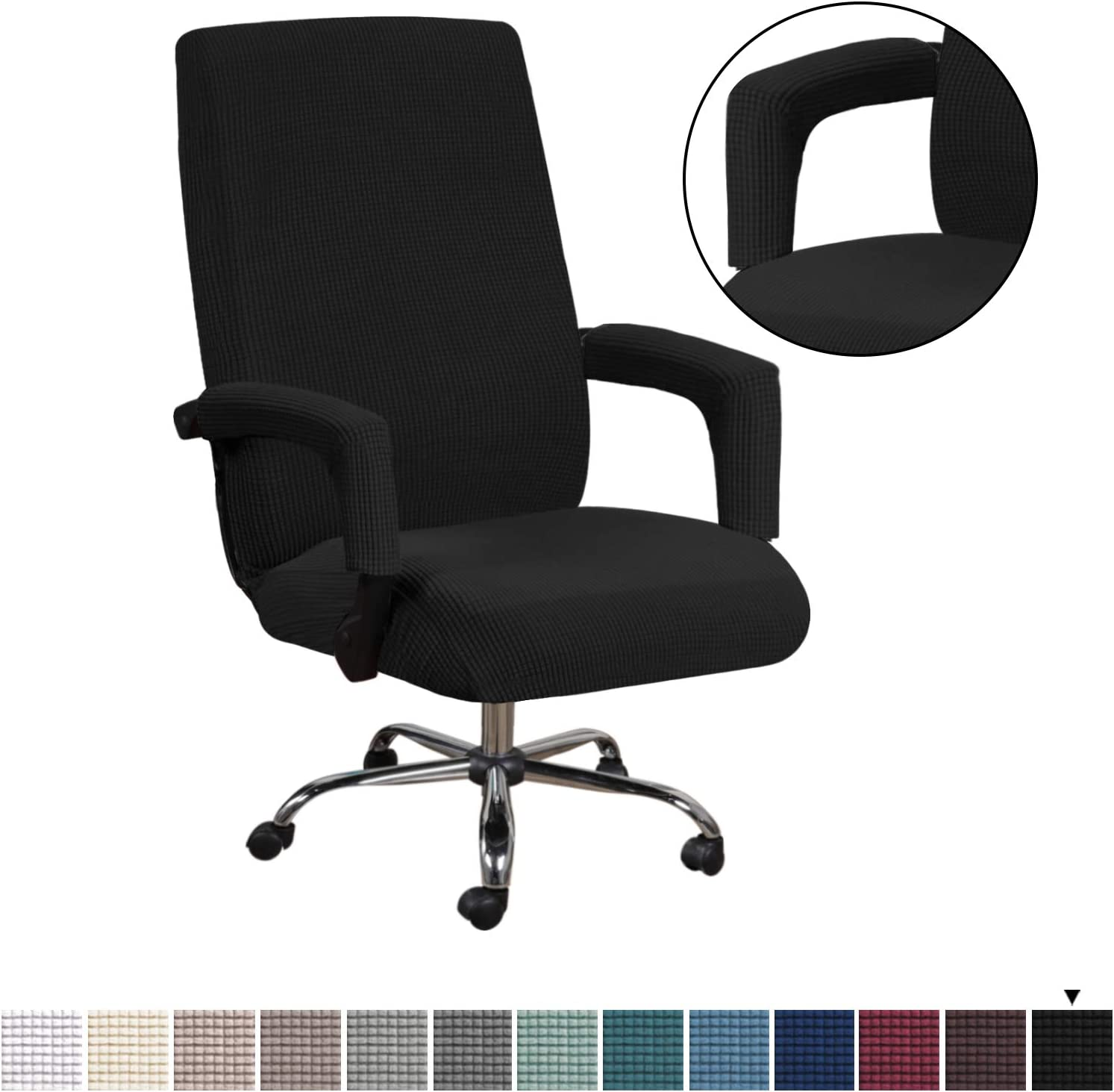 H.VERSAILTEX Spandex Polyester Chair Covers for Computer Office Stretching Skid Resistance Furniture Covers, Thick and Durable Soft Spandex Jacquard Zipper Rotating Medium Back Chair Cover, Black