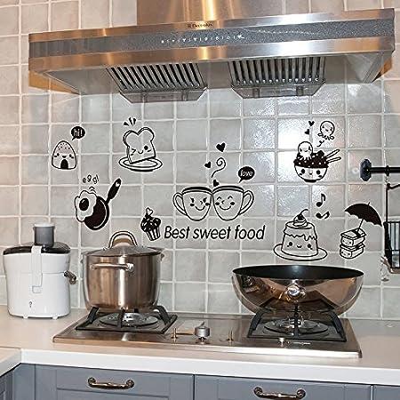 GVC Cocina Pegatinas de Pared Café Comida Dulce DIY Arte de la Pared Calcomanía Decoración Horno Comedor Fondos de Pantalla Calcomanías/Adhesivo de Pared de PVC: Amazon.es: Hogar